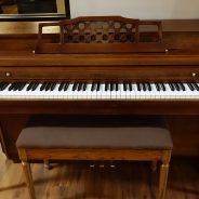Just out of the shop! 1969 Kimball 36″ Spinet Piano